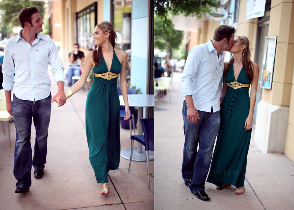 couple walking in uptown dallas west village